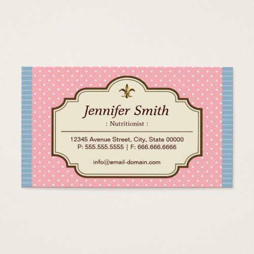 Dietitian nutritionist cute polka dots business card business programmer cute polka dots double sided standard business cards pack of make your own business card with this great design all you need is to add your reheart Choice Image