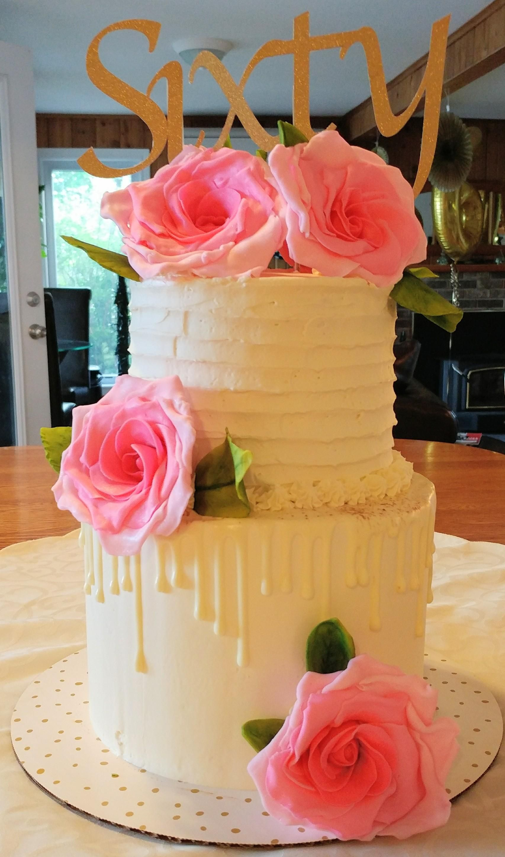 Two Tier 60th Birthday Cake With Fondant Roses Baking Cooking Food Recipes Desserts Win Cookies Recipe Cakes Cupcakes