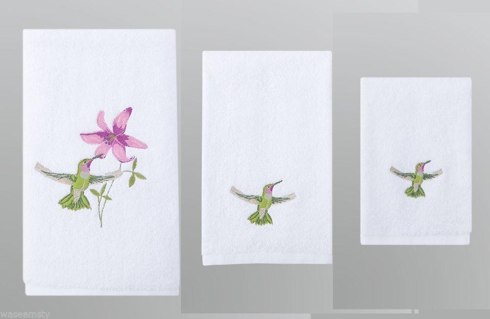 Hummingbird Bird Floral Flower Bathroom Hand Fingertip Towel Set Bath Decor