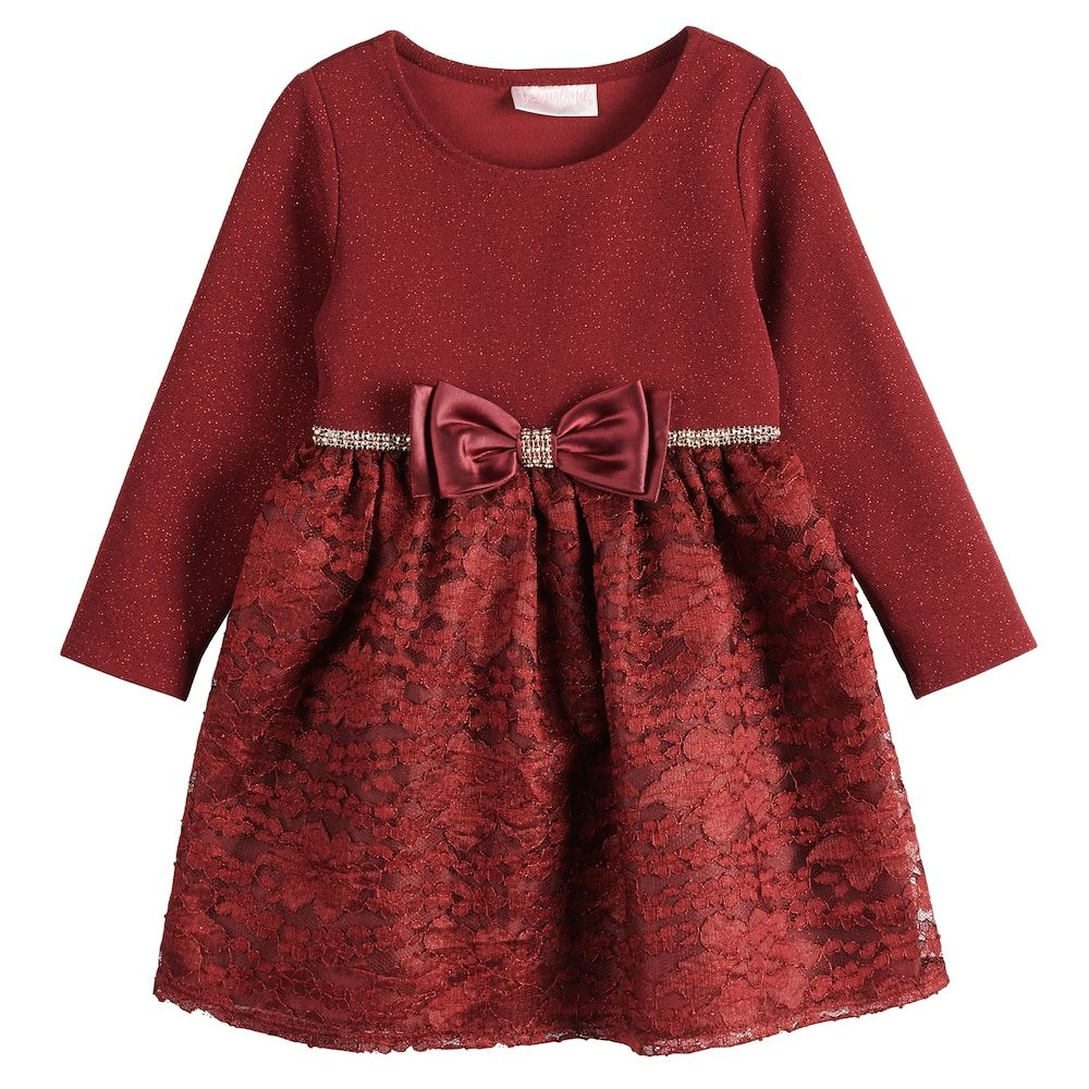 Dress her up for the holidays in this girls' Youngland glittery lace dress. In maroon. Dress her up for the holidays in this girls' Youngland glittery lace dress. In maroon. Button-back closure Long sleeves Rhinestone Trim & Bow on front Waistline Fit & Flare styling Knee length Glittery bodice Lace, lined skirt FABRIC & CARE Imported Machine wash Bodice: polyester, spandex Lace & tafetta: polyester Size: 2T. Color: Dark Red. Gender: female. Age Group: toddler.