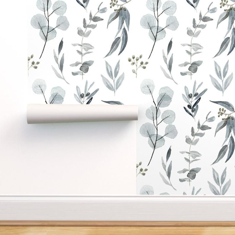 Blue Gray Eucalyptus Botanical Wallpaper Peel Stick Etsy Botanical Wallpaper Removable Wallpaper Nature Inspired Living Room