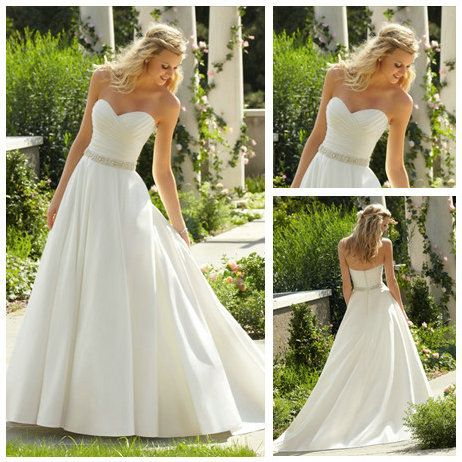 Floor Length A line Ivory Satin Sweetheart 2013 Cheap Beach Casual Wedding Gown-in Wedding Dresses from Apparel & Accessories on Aliexpress.com