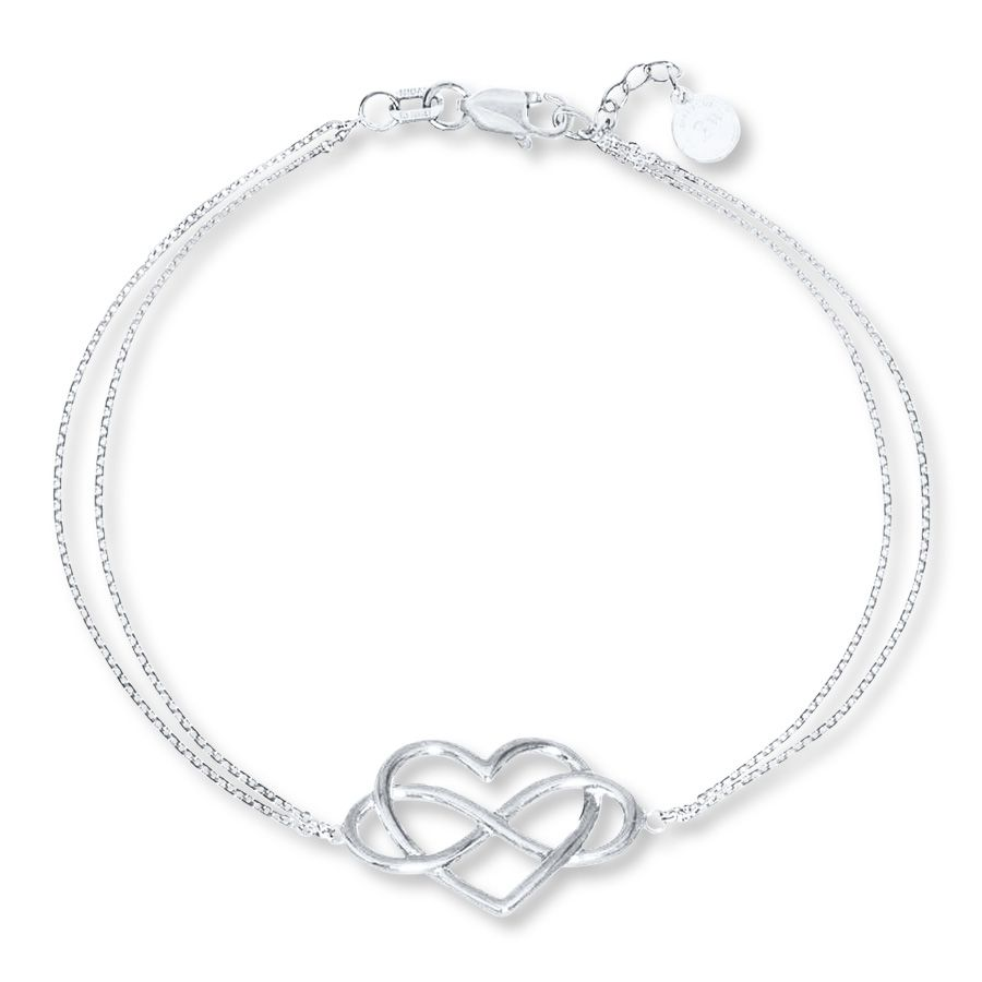 Infinity heart sterling silver bracelet jareds jewelry styled in sterling silver the infinity symbol is held by a double cable chain that secures with a biocorpaavc Image collections