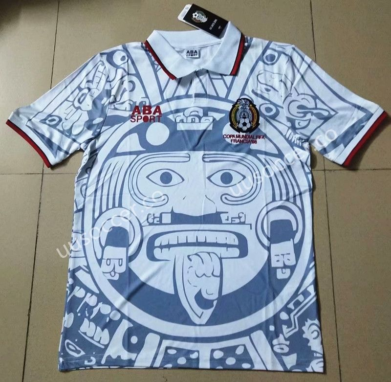 Retro Version Mexico White Thailand Soccer Jersey AAA912