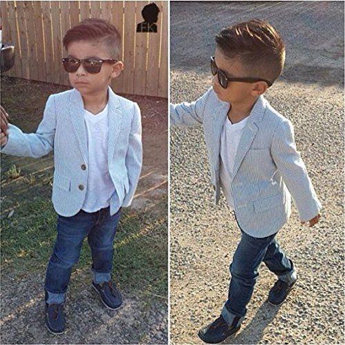 d632ef370c9c Amazon.com  AJia Boy s Casual Suit 3 Pieces Sets Shirt Jacket Jeans ...