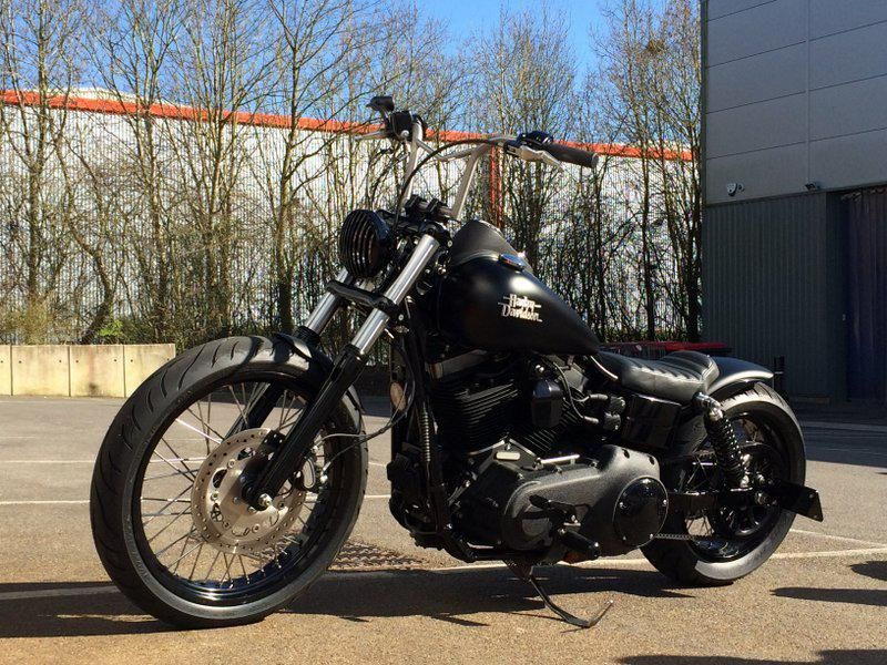 Dan's Harley Davidson Street Bob fitted with Zombi Killer Bars, Weeli Seat, Voodoo Fender, Nitro Shocks, Shaved Nuts & Fatpig Footpegs | Rocket Bobs
