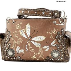 Toffee Dragonfly Embroidered Handbag Purse