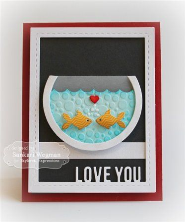 Carte poissons amoureux die bigshot taylored expressions for Bocal a poisson design
