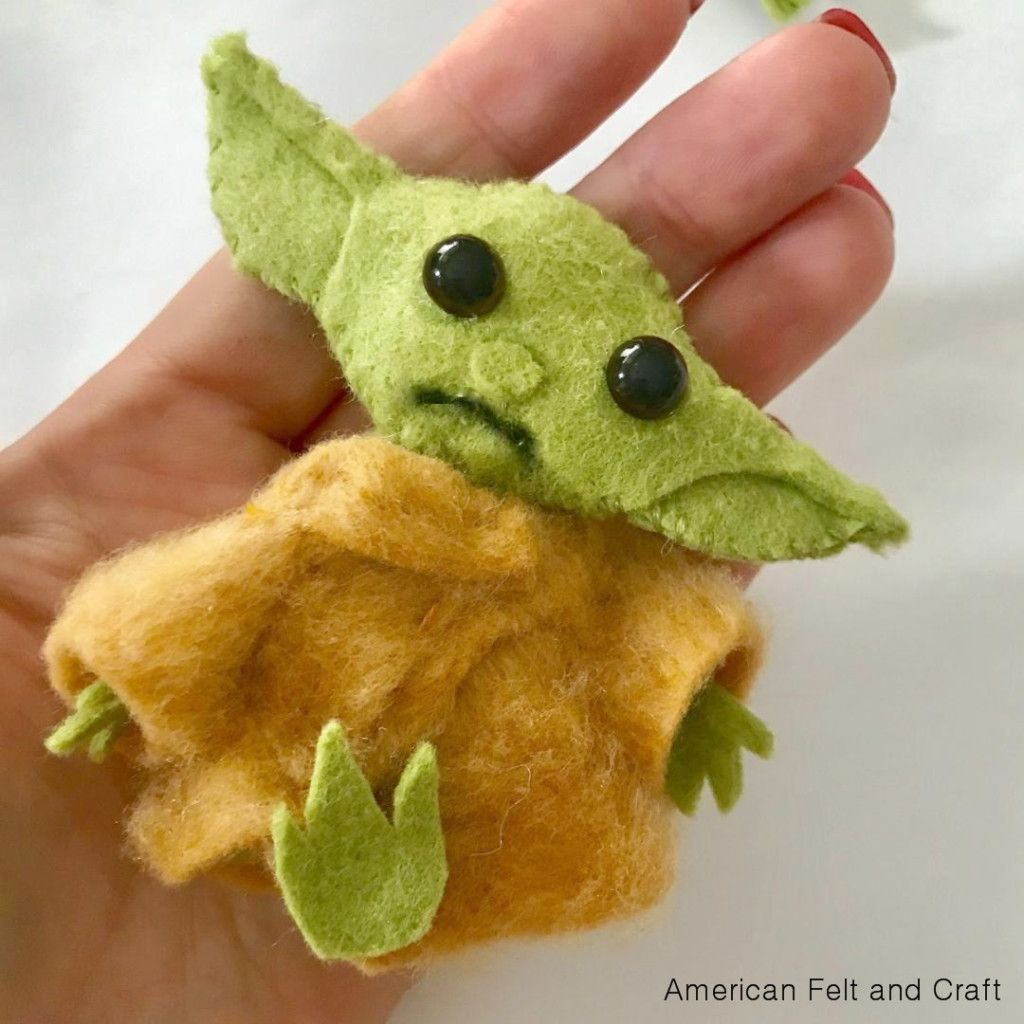 How To Make A Baby Yoda From Felt Felt Crafts Felt Christmas Ornaments Sewing Stuffed Animals