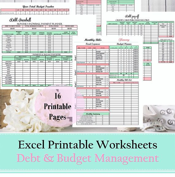 Budget planner, financial planner, debt snowball, excel spreadsheet
