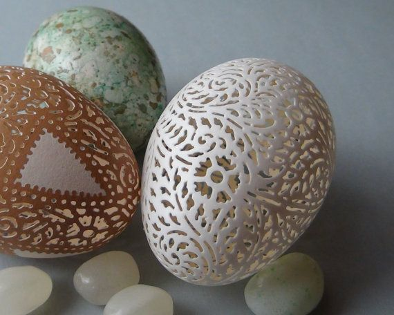 Victorian Lace Egg Pair: Etched and Carved by theNestatWindyCorner
