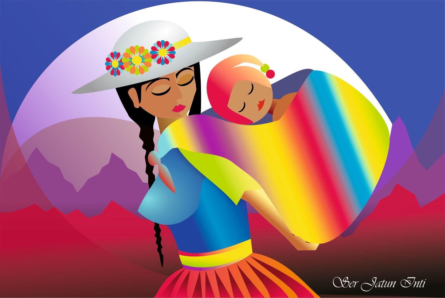 Mujer andina cargando a su hijo