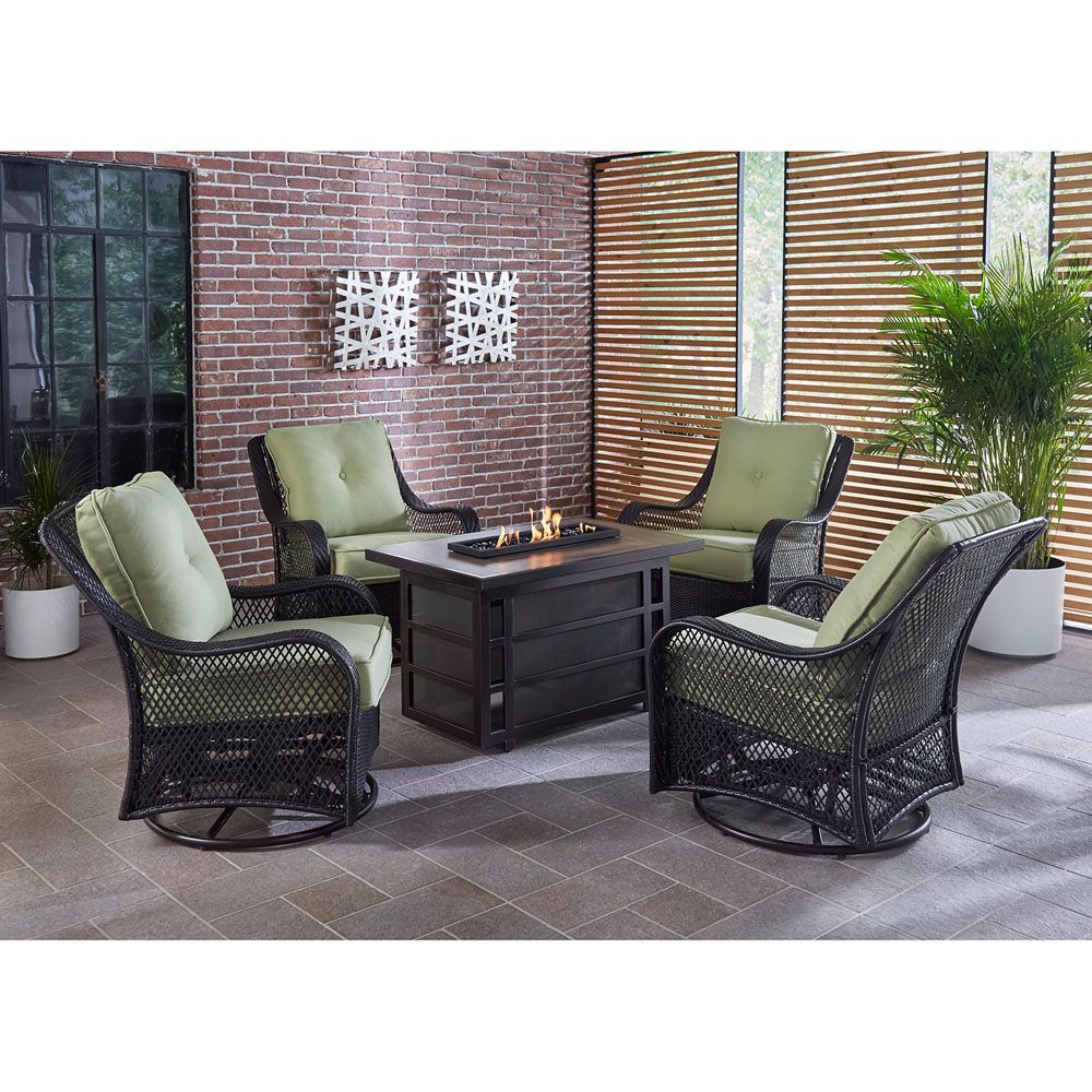 Hanover orleans 5 piece fire pit chat set with a 30000 btu fire pit table and 4 woven swivel gliders in avocado green orl5pcsw4recfp grn