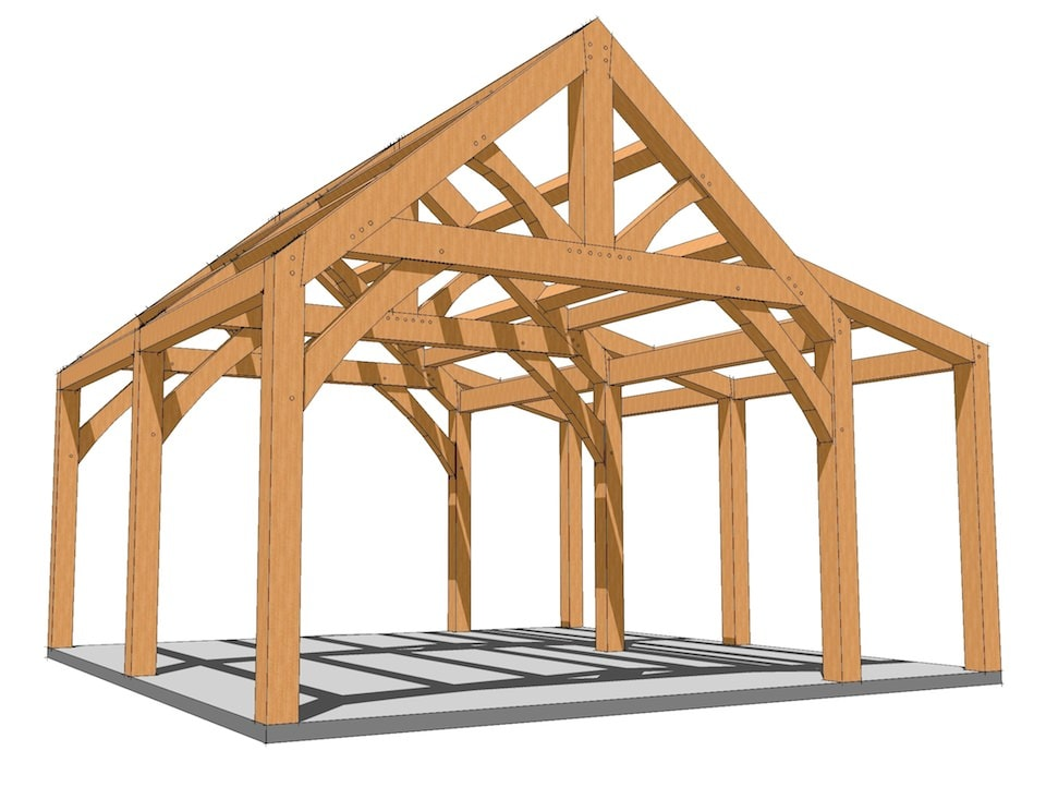 20x20 King Post with Shed Roof Plan Timber frame cabin