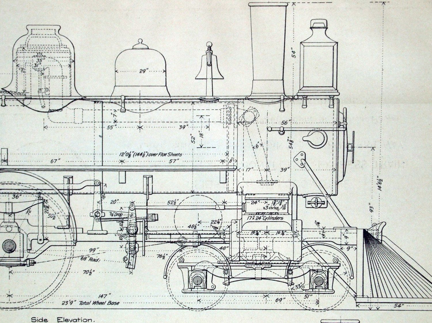Poster Sized Antique Engineering Drawing Of An Eight Wheel Locomotive Lake Shore And