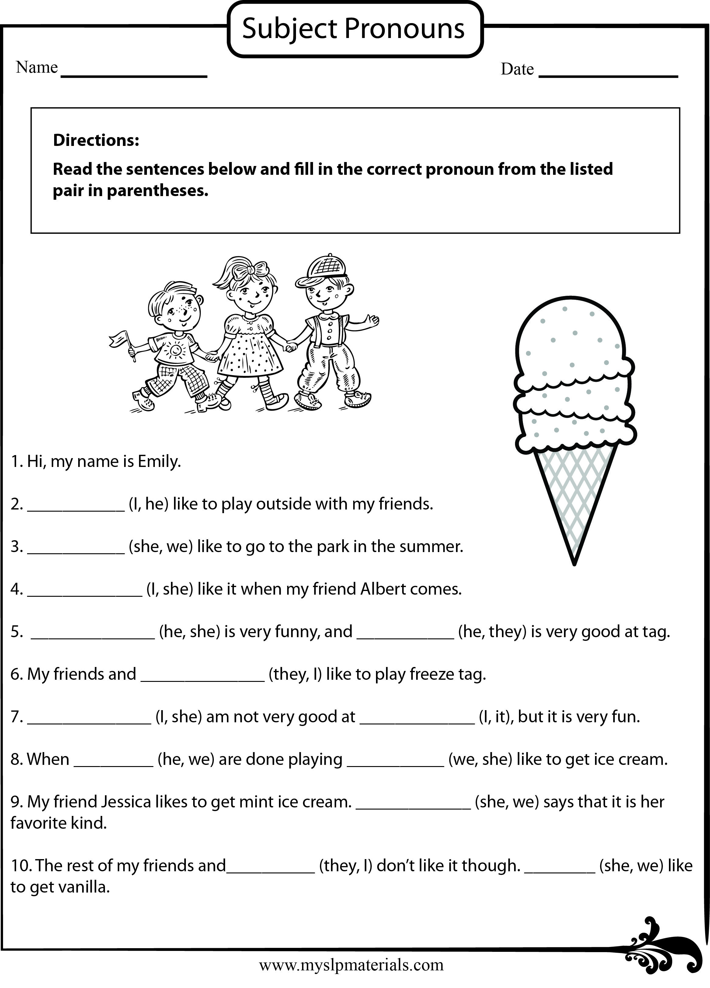 httpsmyslpmaterials Subject Pronoun SpeechLanguage – Subject Pronoun Worksheets