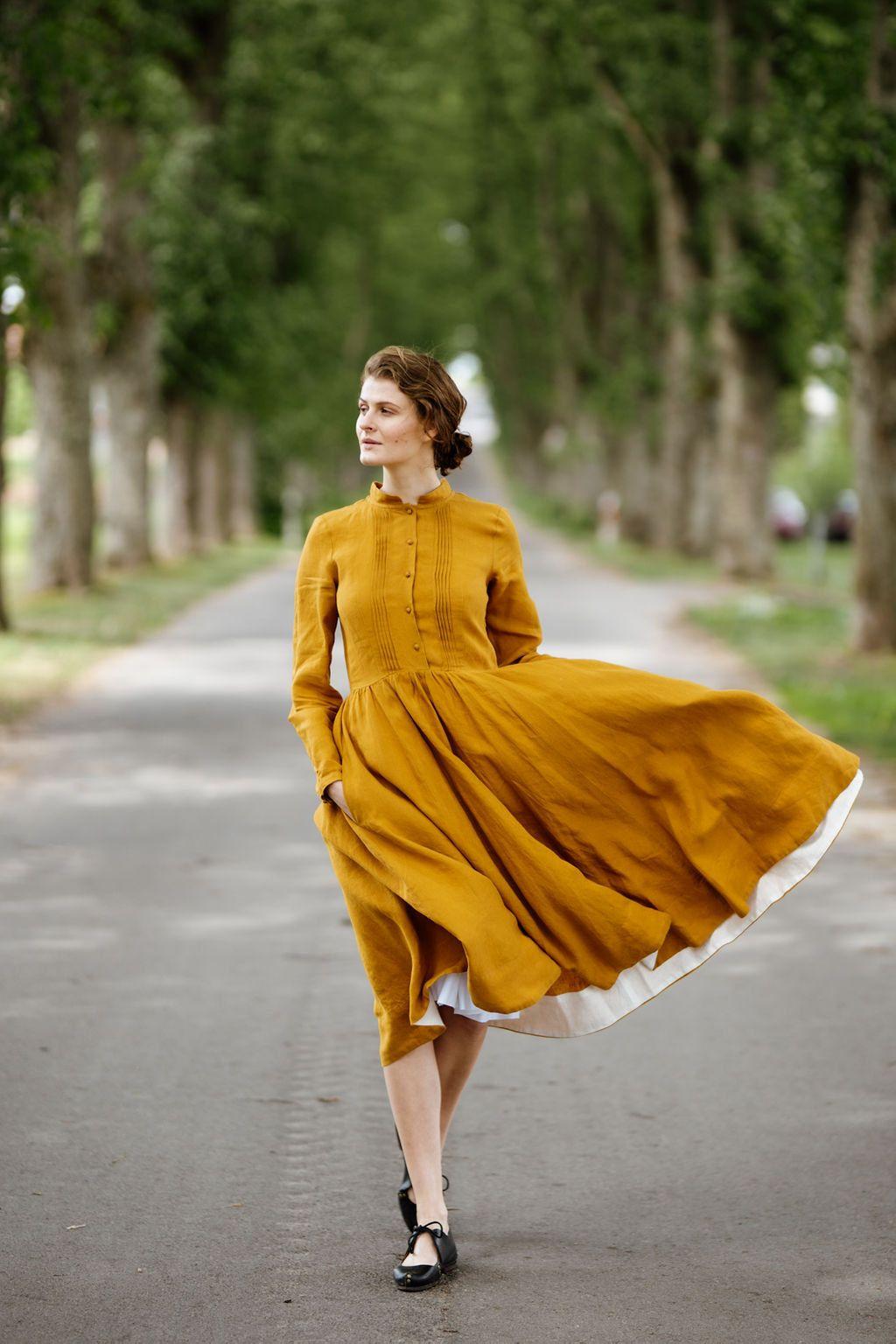 Cotton skirt mustard color linen dress shape skirt