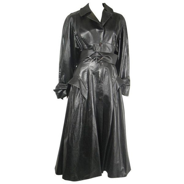 Preowned 1980s Theirry Mugler Vinyl Runway Trench Coat 3 500 Liked On Polyvore Featuring Outerwear Coats Black Trench Coa Trench Coat Coat Vintage Coat