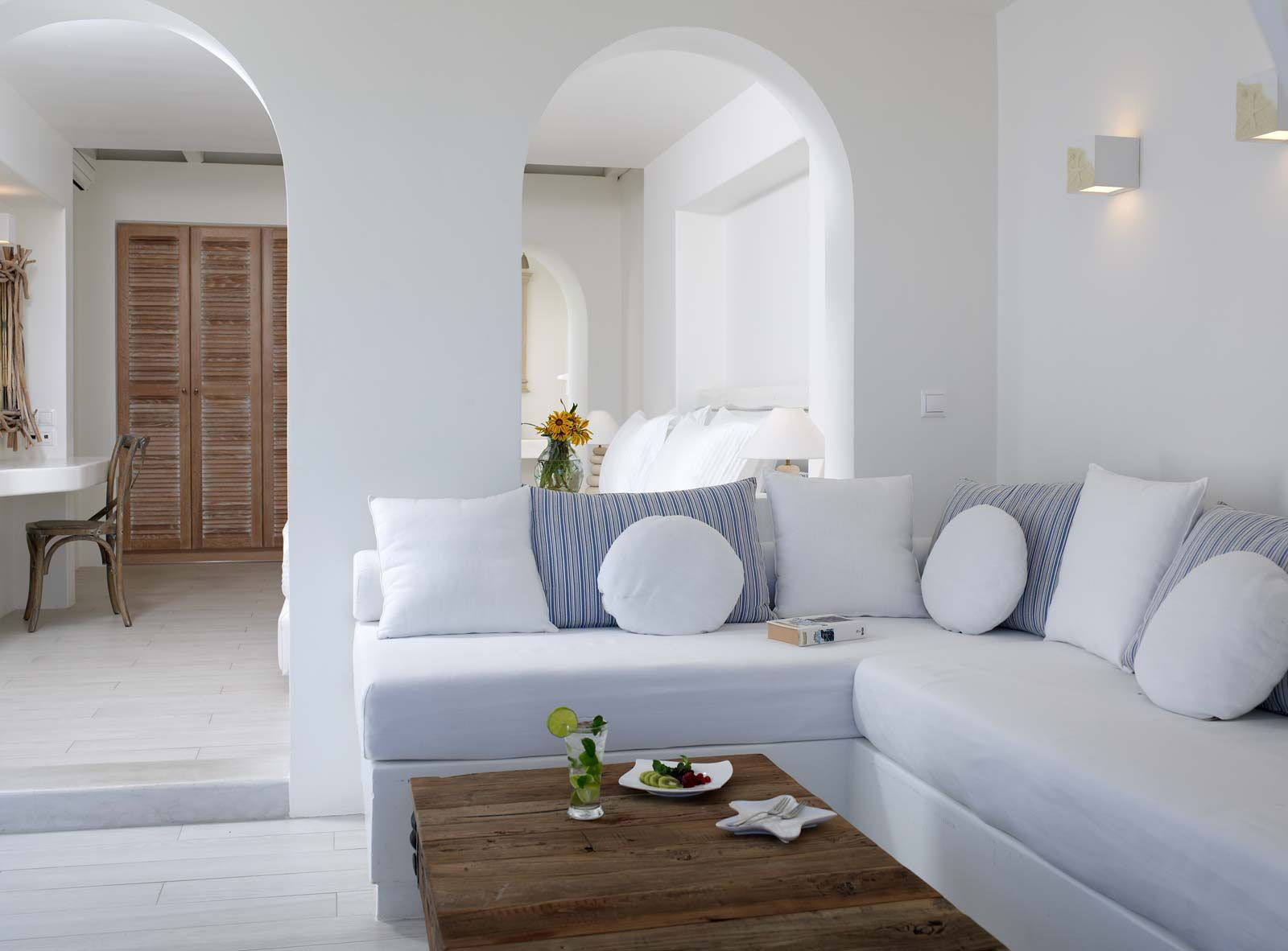 GREECE CHANNEL | Naxos Greece . Villa Marandi . Living Room Interior