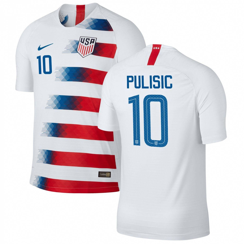 2e5d8a842 Christian+Pulisic+#10+USMNT+USA+Home+2018-2019+SOCCER+Jersey+–+White #soccer