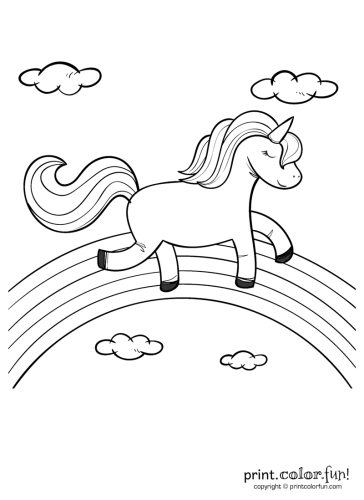Happy Unicorn Over The Rainbow Coloring Page Print Color Fun Birthday Coloring Pages Unicorn Printables Unicorn Coloring Pages
