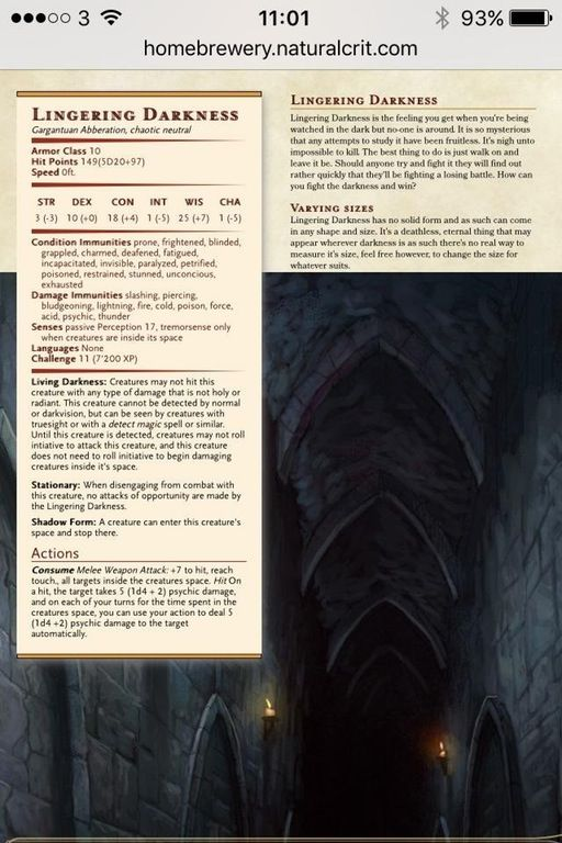 Darkness Dnd : darkness, Homebrew, (5e):, Revised, Lingering, Darkness, UnearthedArcana, Dungeons, Dragons, Rules,, Homebrew,