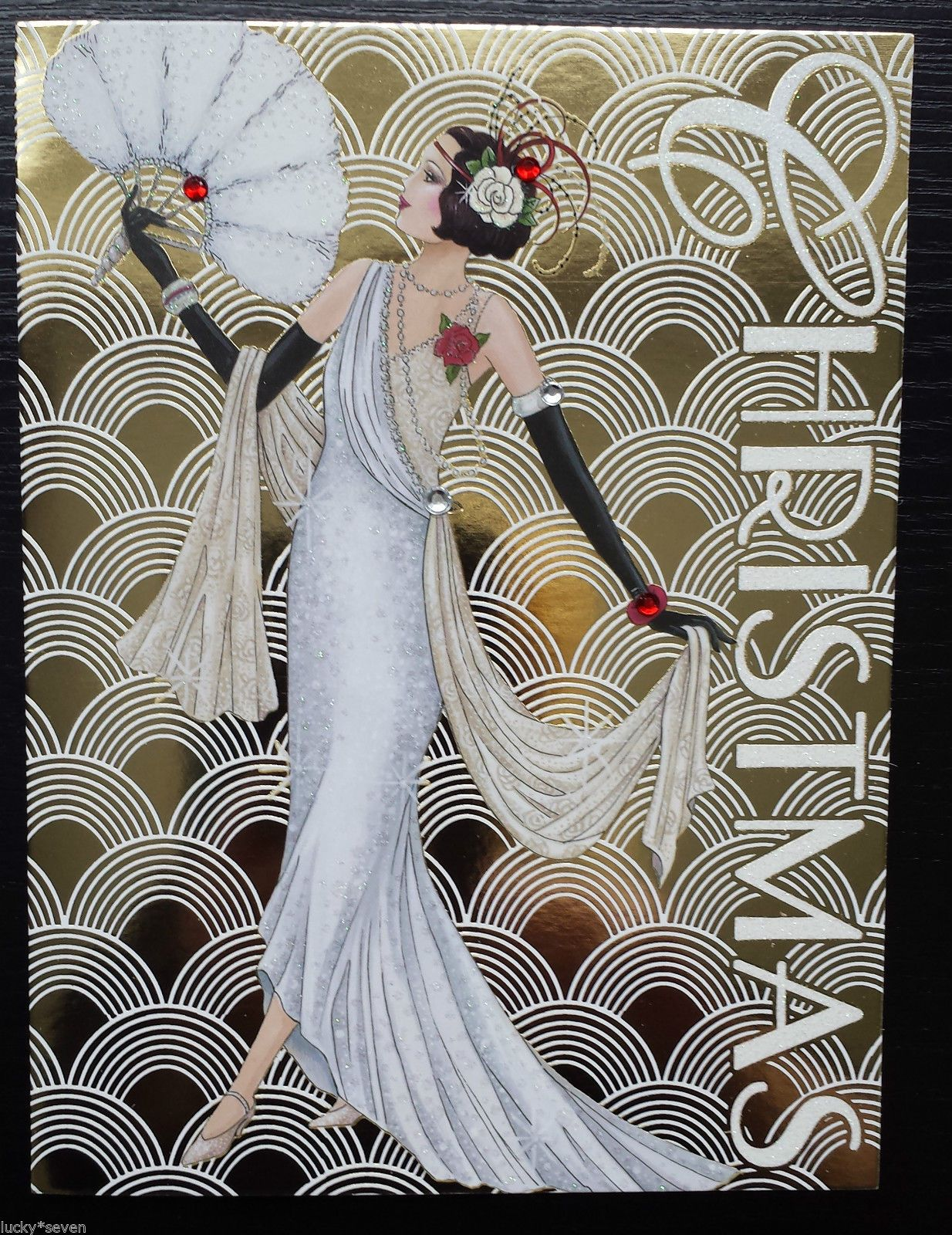 11 Clintons Art Deco Lady Embellished Christmas Cards