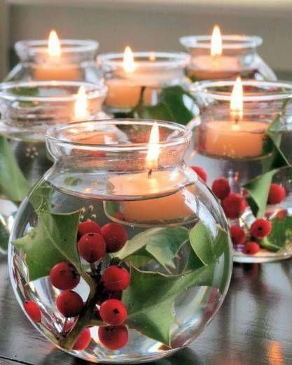 Esta idea decorativa es mus sencilla y elegante centro de - Mesa de navidad elegante ...