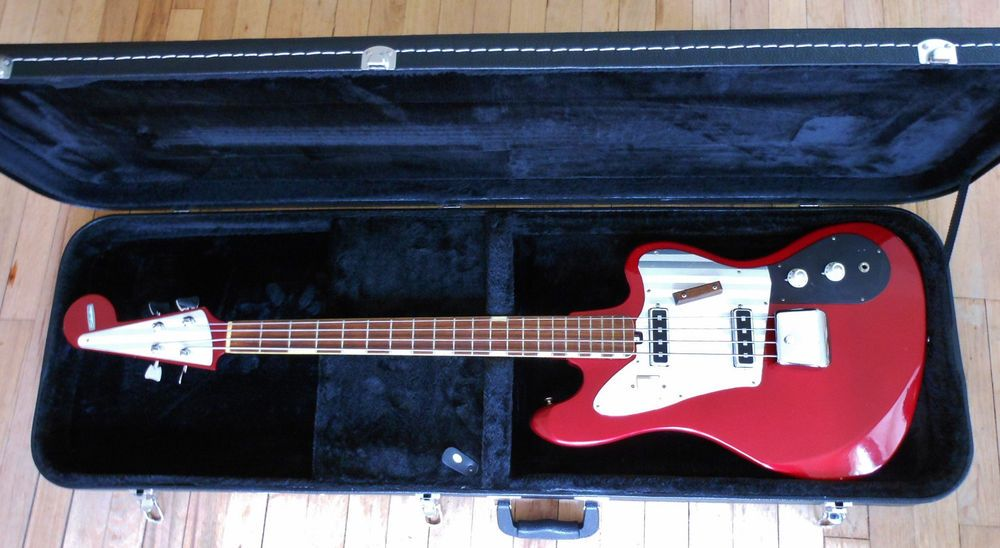 1965 Sears Silvertone 1438 Teisco Nb 4 Electric Bass Guitar Rare Red