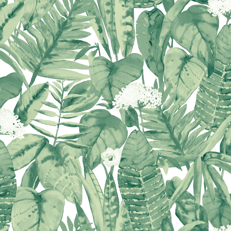 Alfresco Palm Removable Wallpaper, Jungle Green Tropical