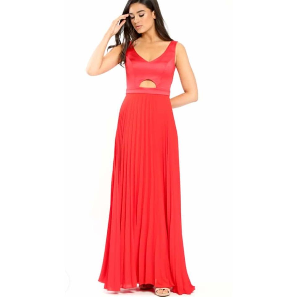 009bbb6f826 Maxi κόκκινο φόρεμα με πλισέ φούστα, 2019 | Βραδινά φορέματα ...