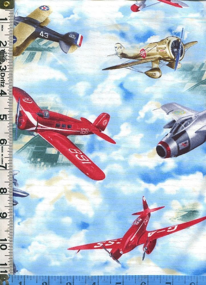 Fabric Quilting Treasures WINGMAN Airplanes retro on blue sky  aviation BTHY