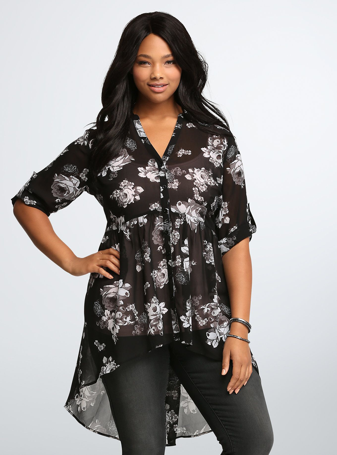 08c13e323ccdbe <p>Flowers aren't just for spring anymore! The grey floral print on this  black semi-sheer chiffon tunic is seasons-spanning, as are the tab…