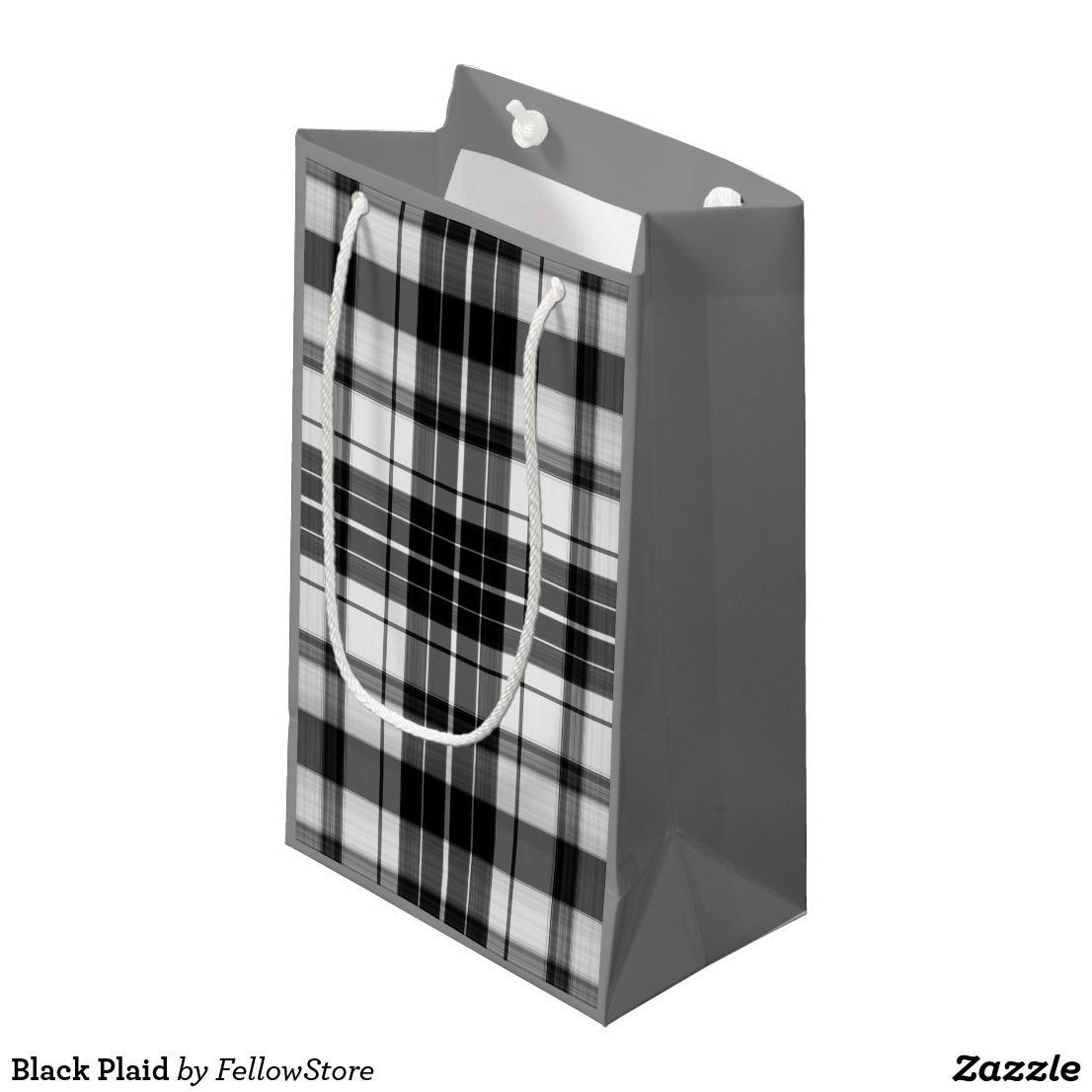 Black plaid small gift bag small gift bags