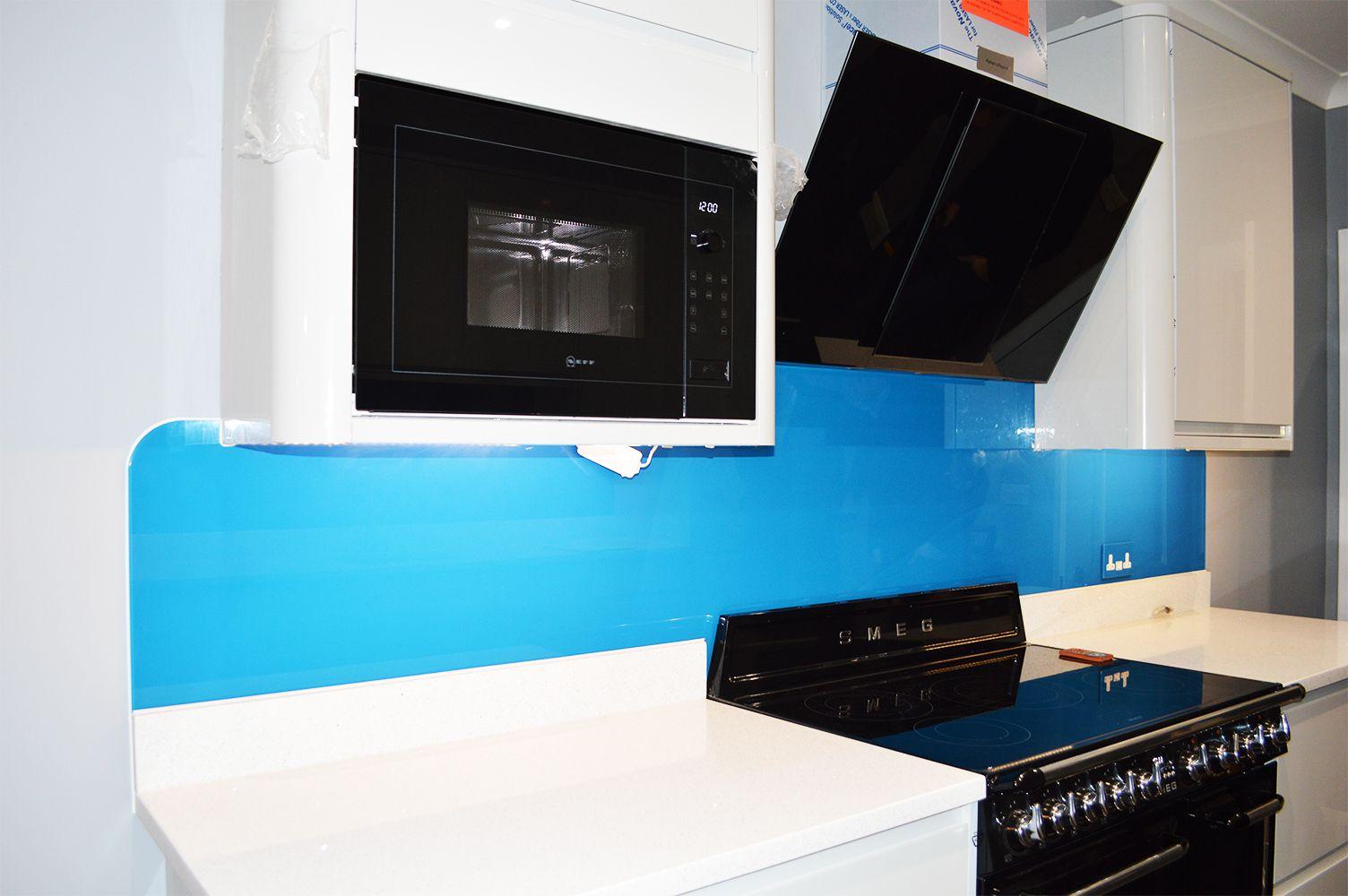 Blue Plain Colour Glass Splashback | Coloured Glass Splashbacks ...