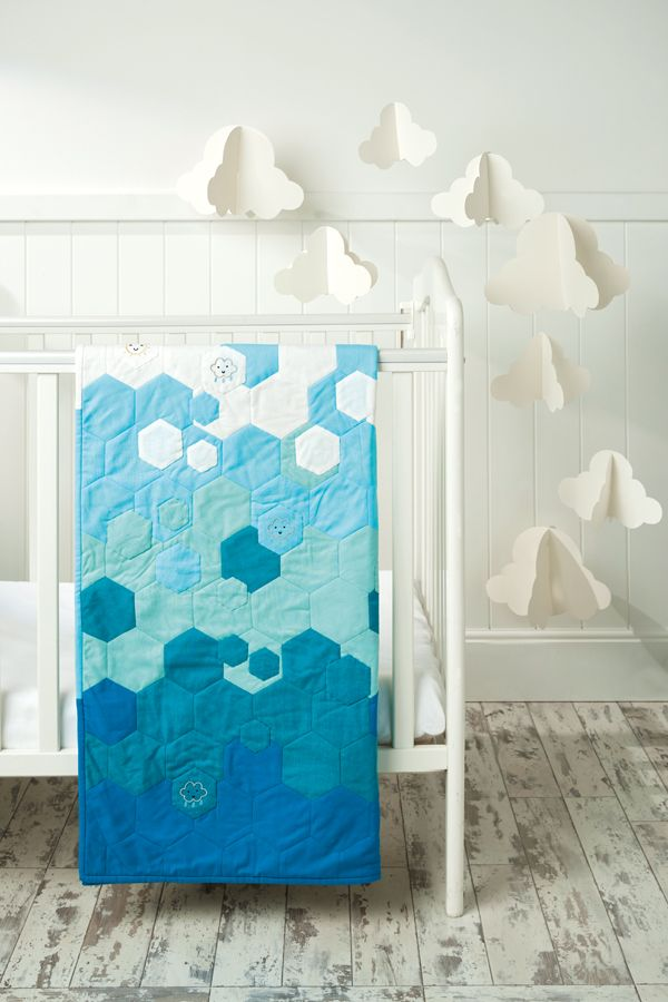 Hexagon quilt pattern ombre hexies cot quilt by Alice Blackledge ... : cot patchwork quilt patterns - Adamdwight.com