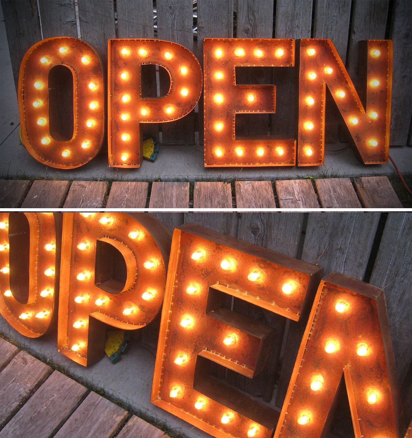 19 tall open letters marquee lights with patina little fish