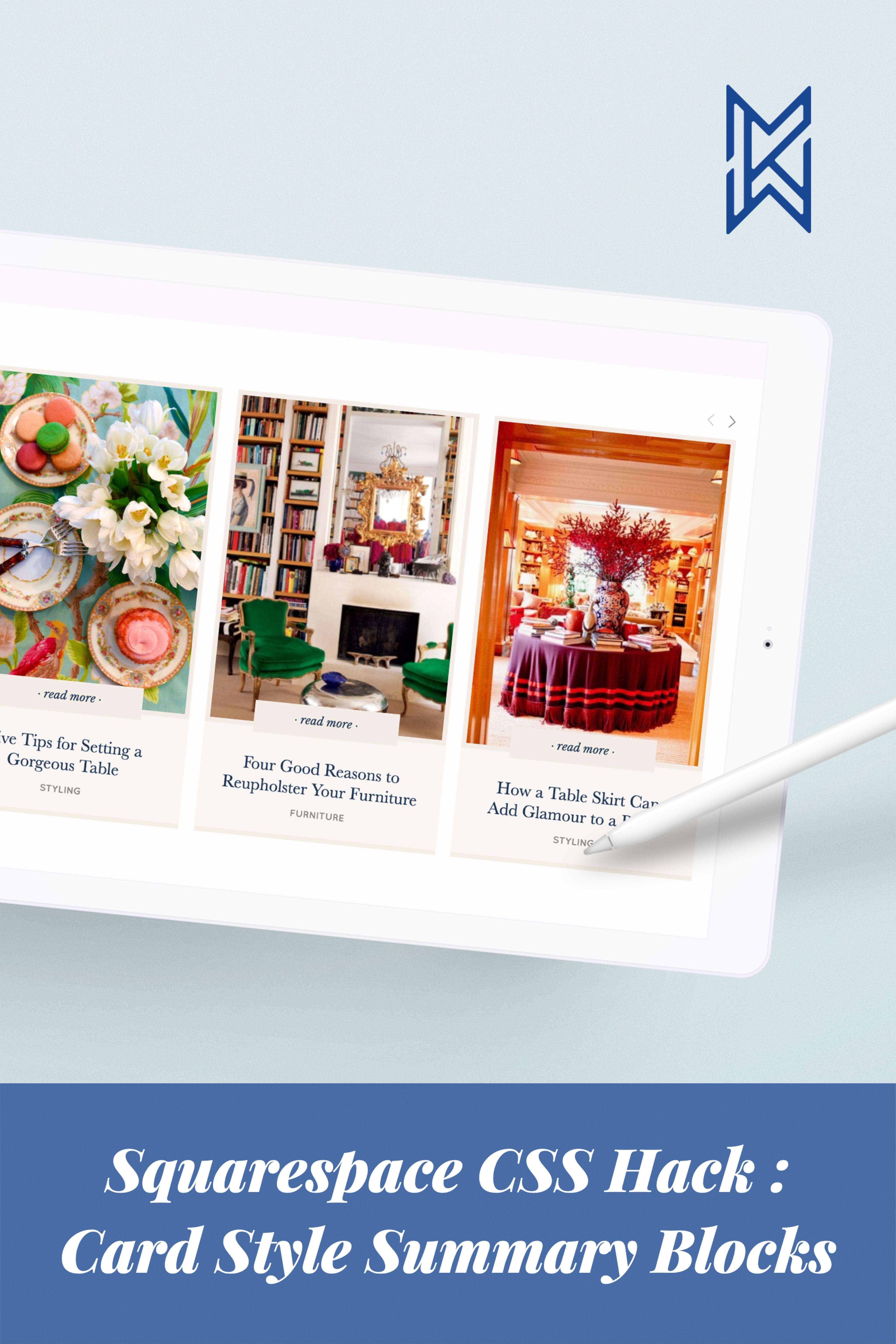 Squarespace Tutorial CSS Blog Post Summaries → Card Style