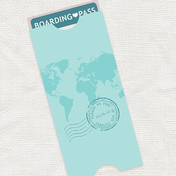 Map Boarding Pass Travel Pouch Envelope  Printable File