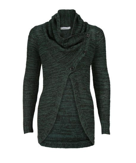 Button Front CardiganButton Front Cardigan, Deep Emerald/Black Mix