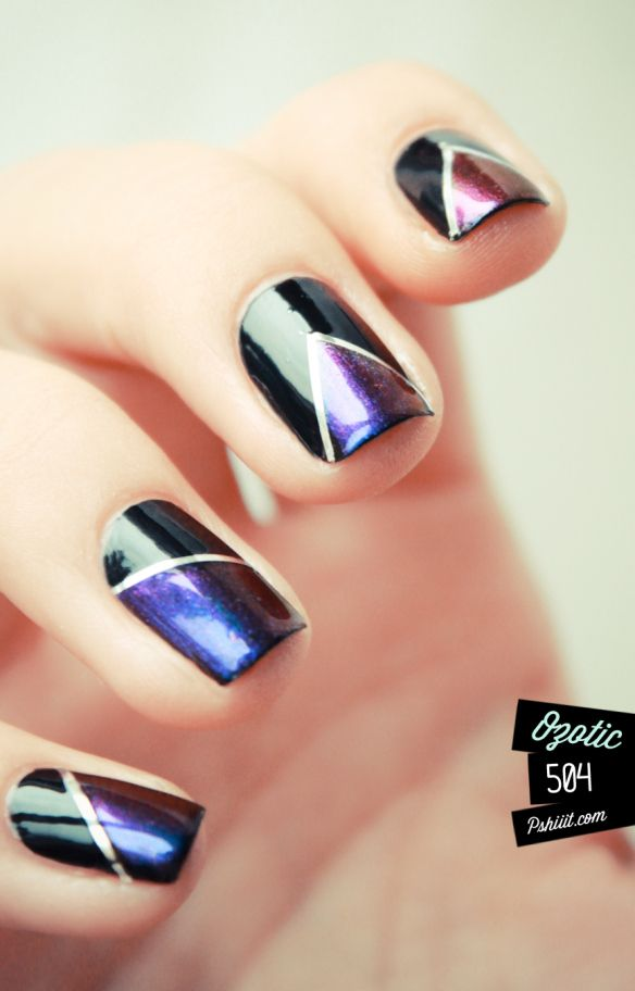 Purple And Black Nail Tape
