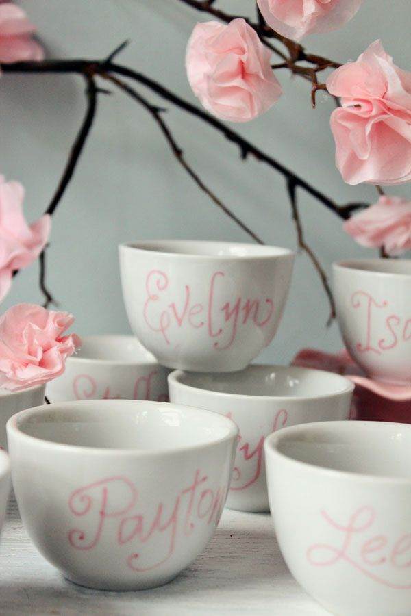 personalized tea cup favors for bridal shower guests just draw and bake could also include custom made tea bags that have a wrapper that says love is