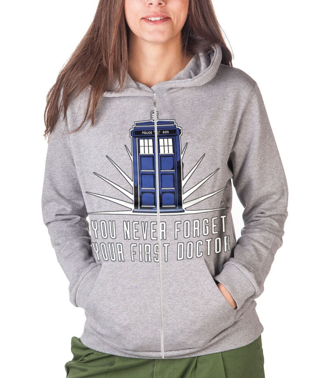 DOCTOR WHO TARDIS - YOU NEVER FORGET YOUR FIRST DOCTOR - GREY GIRLS HOODIE