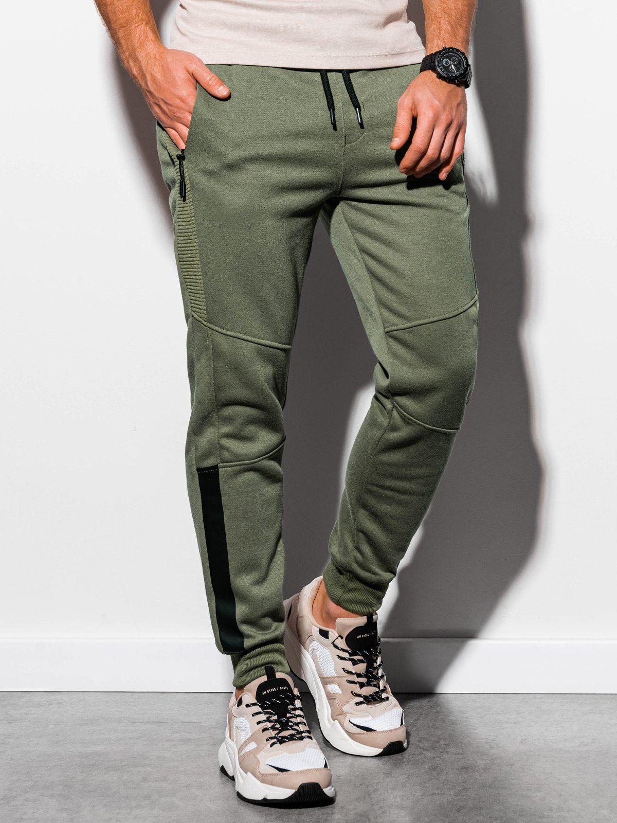 Spodnie Meskie Dresowe Zielone Fashion Khaki Pants Khaki