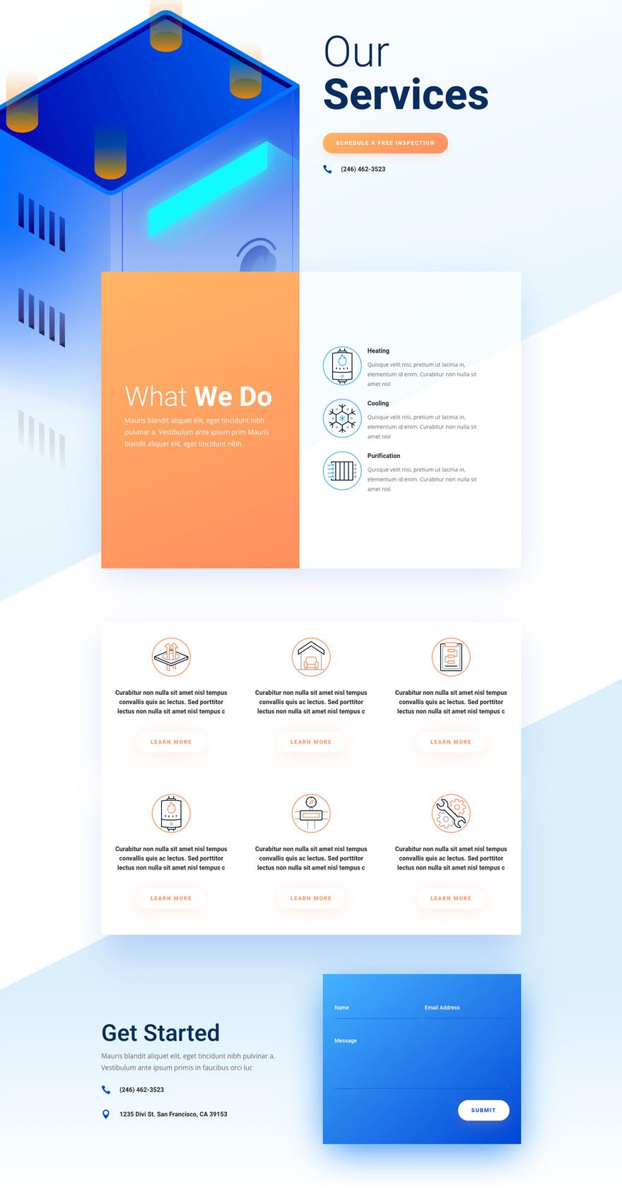 Get A Free Hvac Layout Pack For Divi Web Design Website Layout Clean Web Design