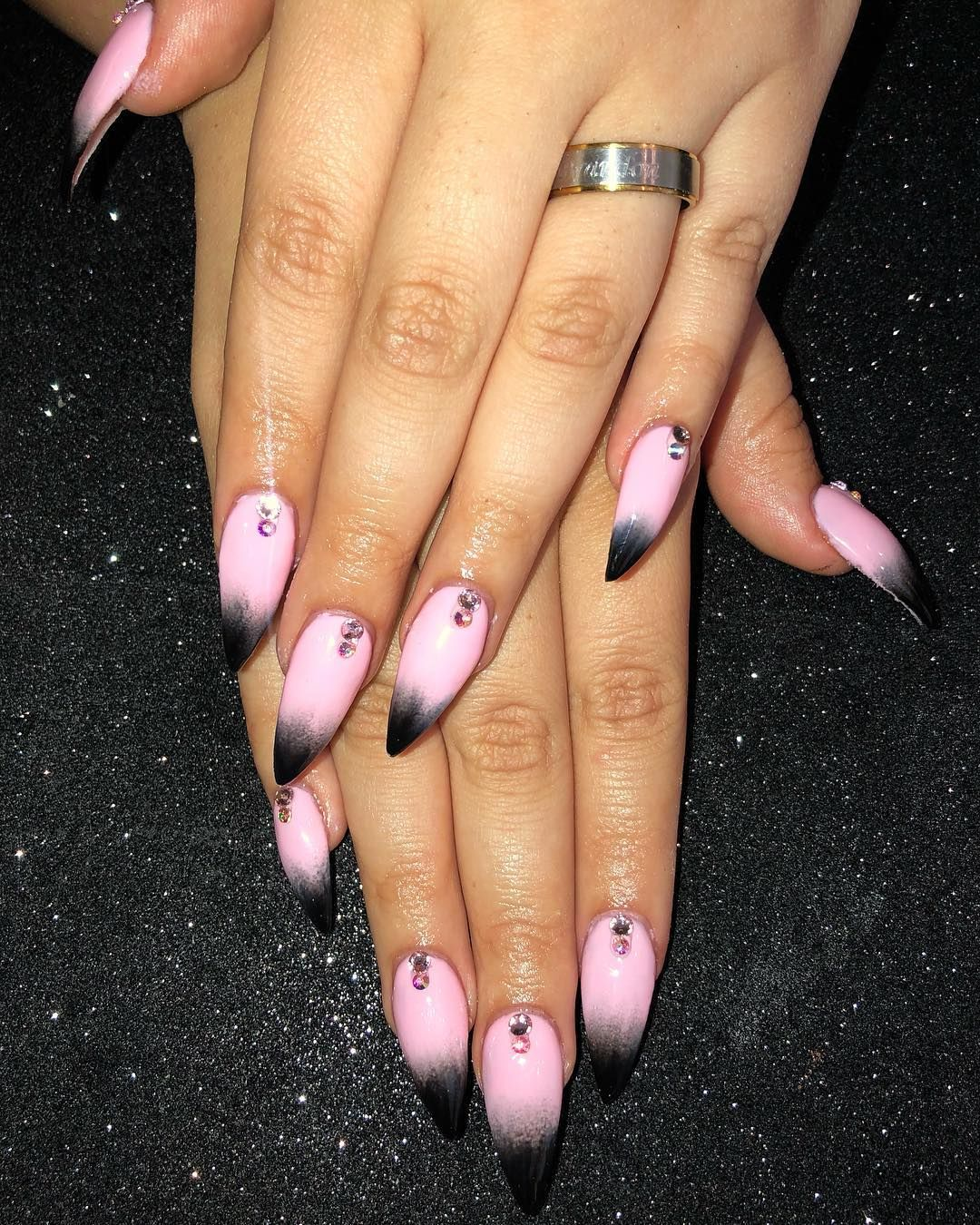 Flash Was Needed For These Pastel Goth Inspired Kitten Claws With Crystal Accents Nails Acrylicnails Naildesigns Gel Pastel Goth Nails Goth Nails Nails