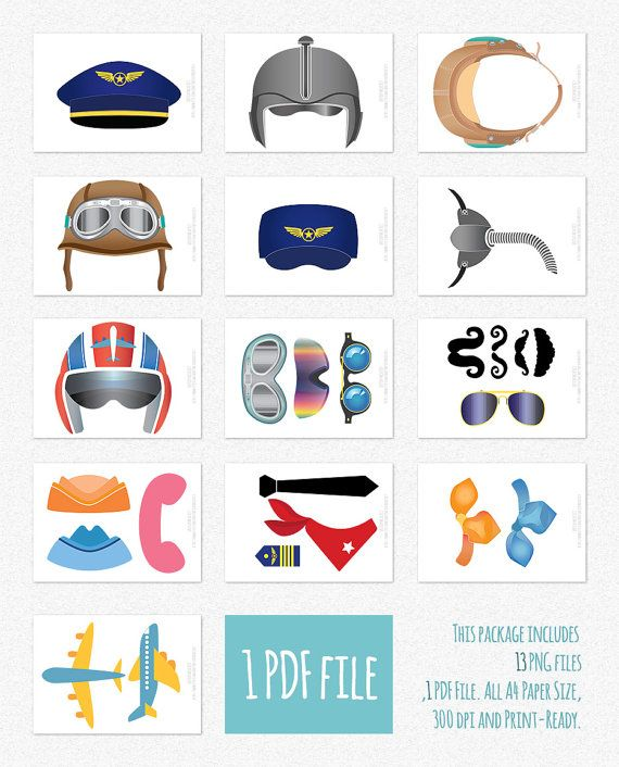 35 Pilot Party Props Airplane Party Diy Printable Photo Booth: Airplane Photo Booth Props Clipart ( Digital )