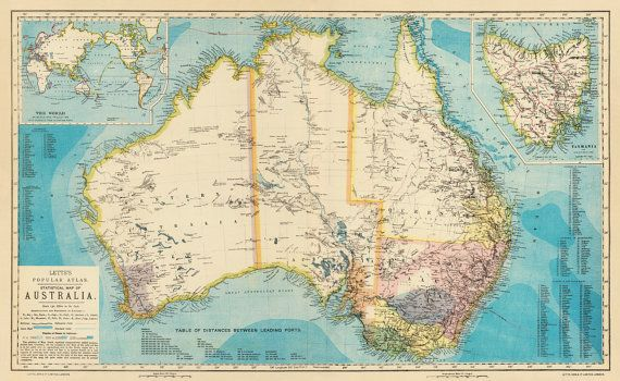 australia map old map of australia print fine archival print large australia map poster