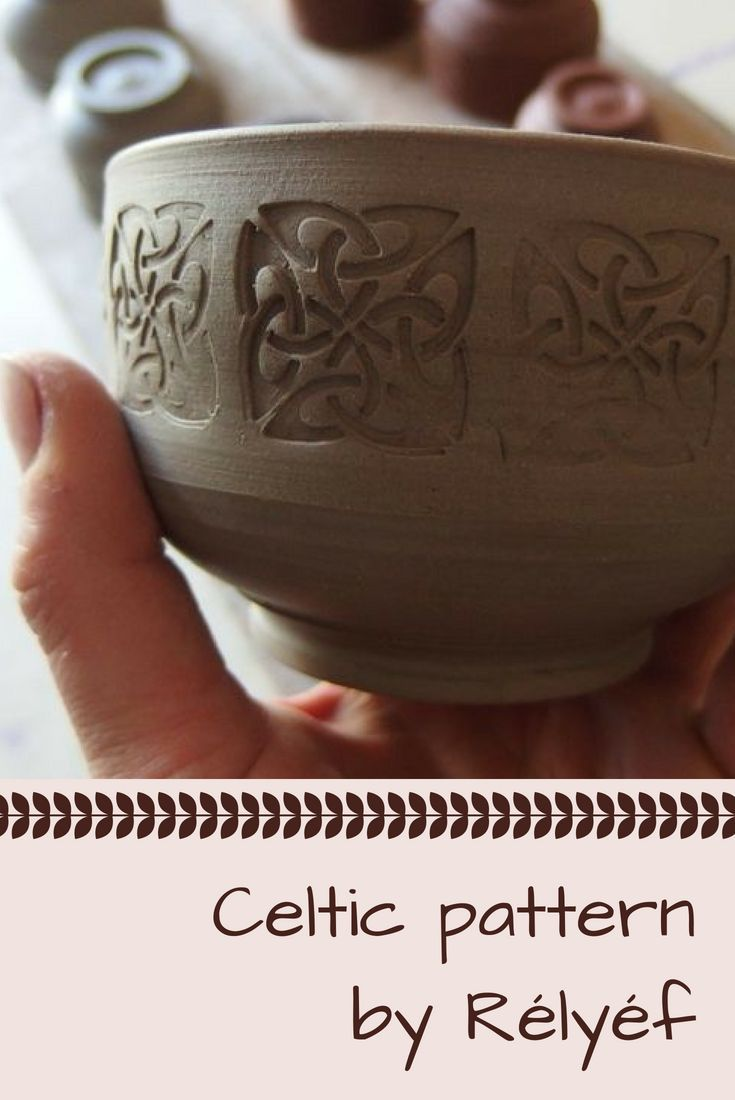 Pottery ideas of celtic pattern on the bowl made with pottery decorating tools from Rélyéf - easy use for kids and beginners  #ceramics #potterytools #celtic #relyefcz #bowl