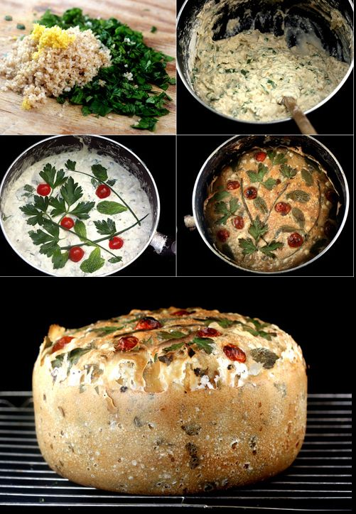All In One Pot Bread.  Mixed,Risen and Baked in One Pot!  Add in whatever you like.  I mixed in bulgur wheat, lemon zest, scallions and tomatoes for a Tabbouleh Salad Bread!  Another favorite is adding Garlic and cheese!